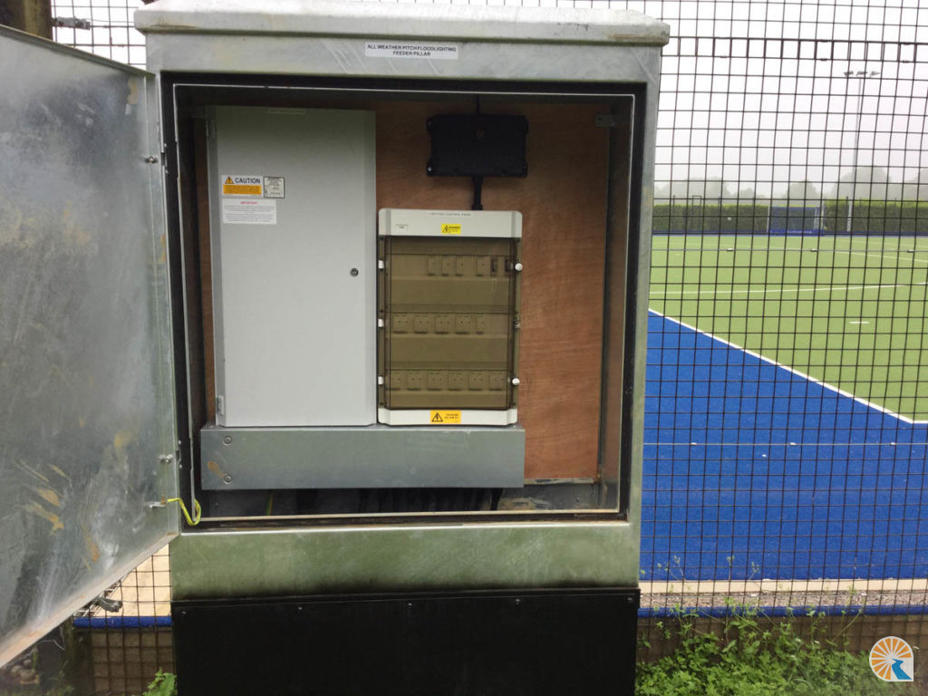 Hockey pitch lighting installation with panel and wireless switching system in Leicestershire