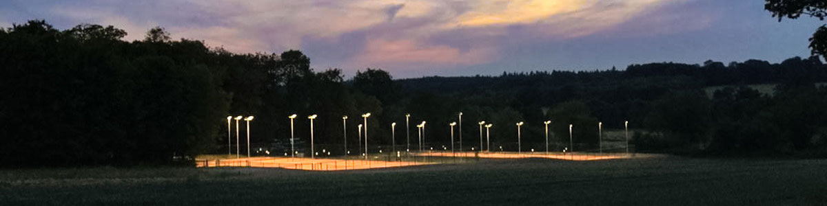 Tennis courts led floodlights at night