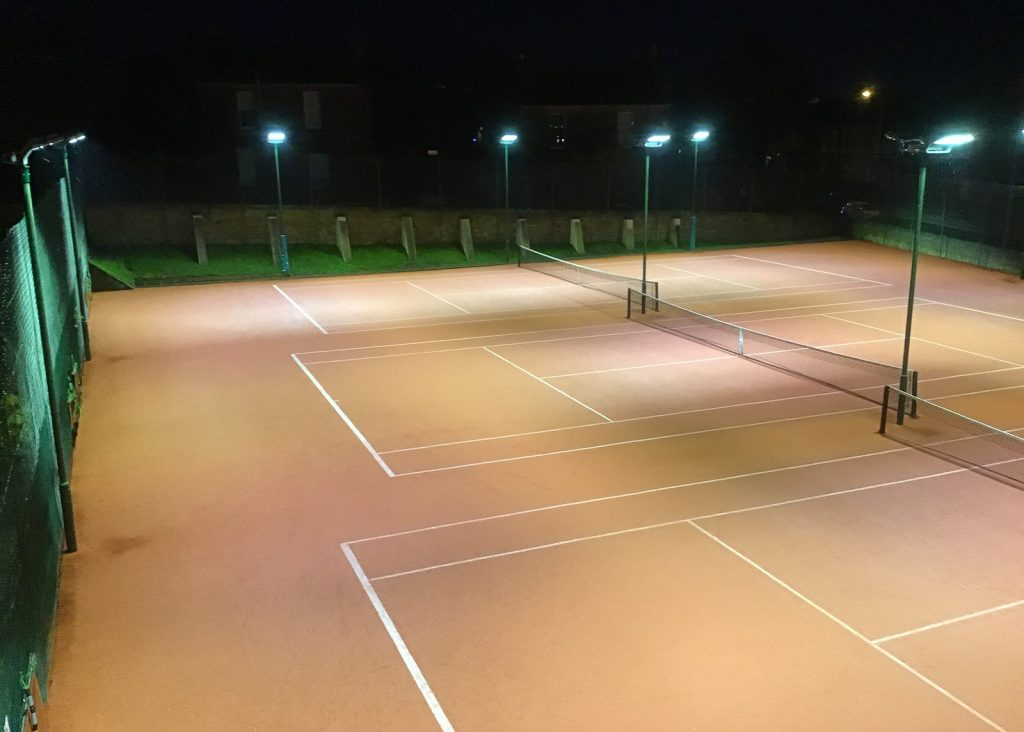 LED floodlights illuminating tennis courts in Edinburgh