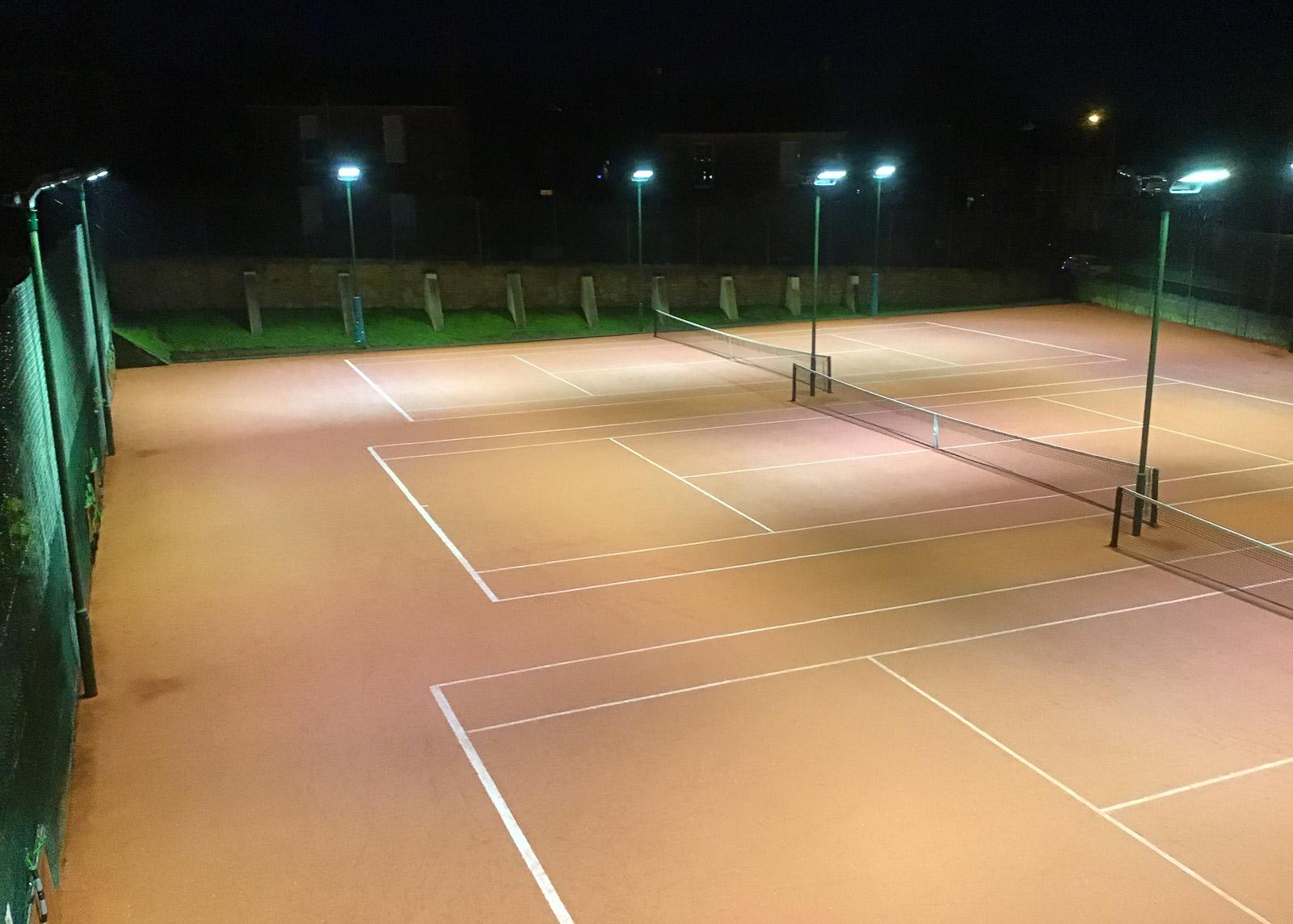 LED floodlights illuminating tennis courts in Edinburgh