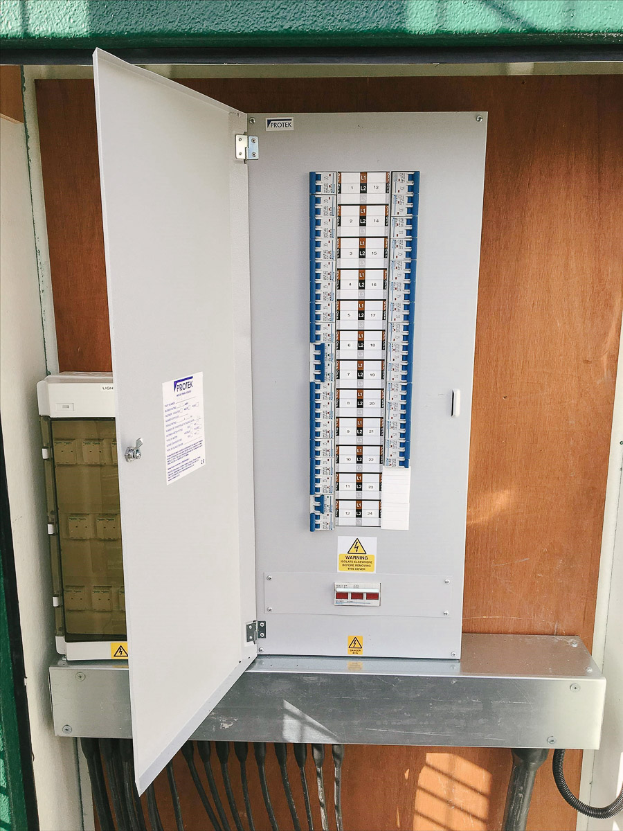 Sports floodlighting distribution board and cabinet in North London