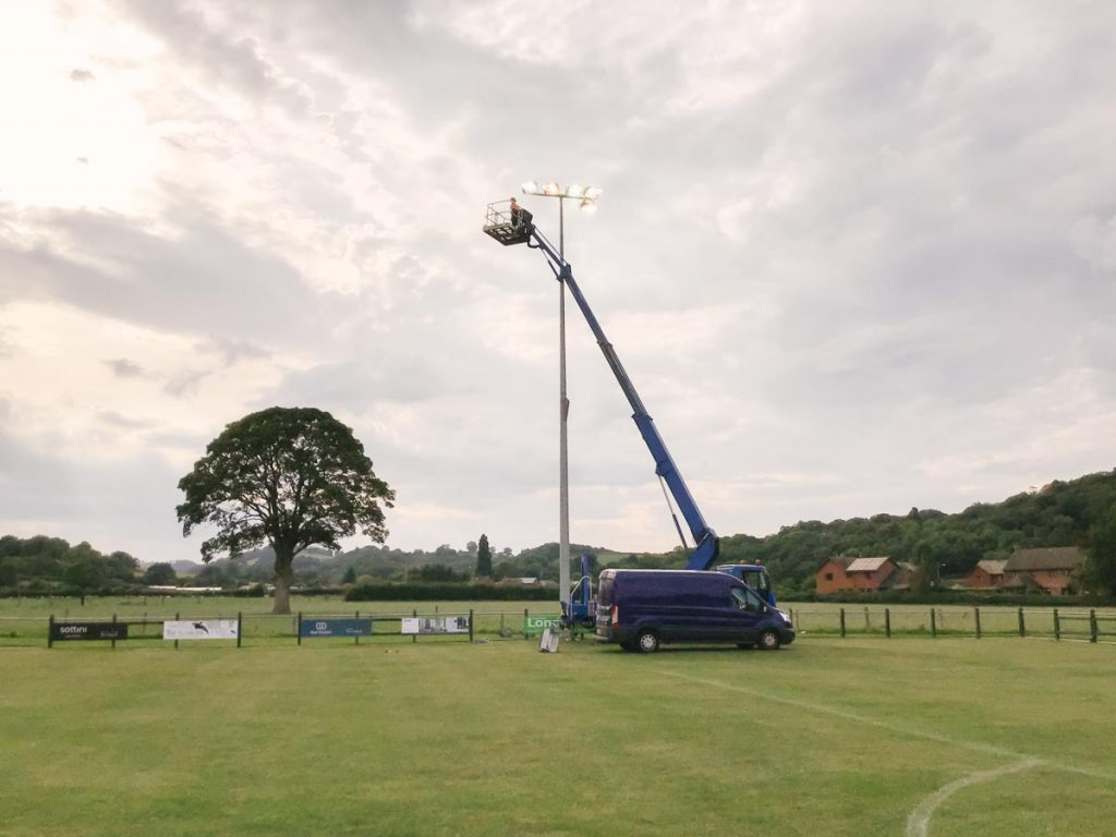 Maintaining floodlights in North Wales